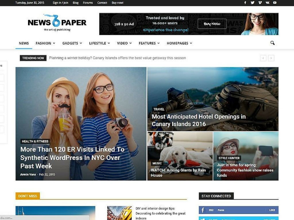 Newspaper WordPress Theme 2016