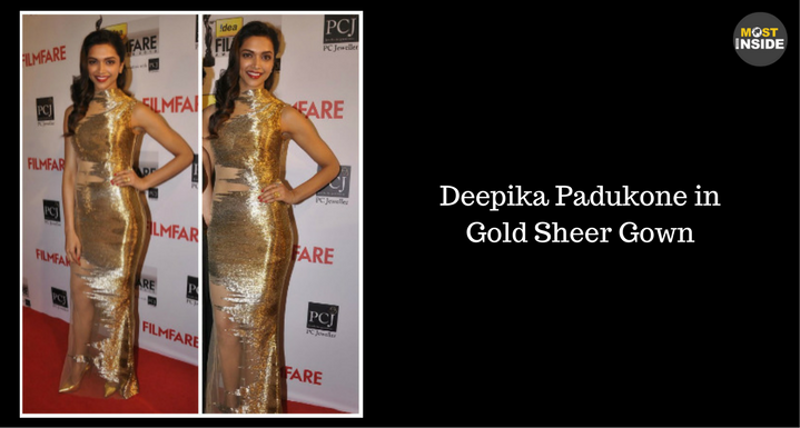 Deepika Padukone in Gold Sheer Gown