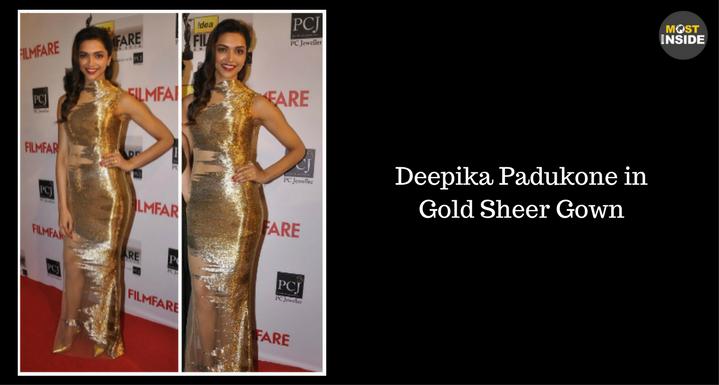Deepika Padukone in Gold Sheer Gown