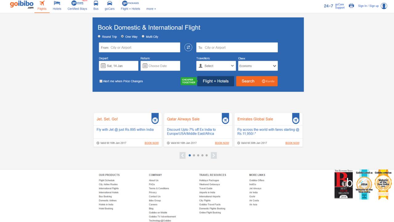 Goibibo Flight Booking